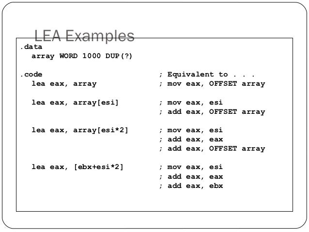 Lea Assembly Instruction Example