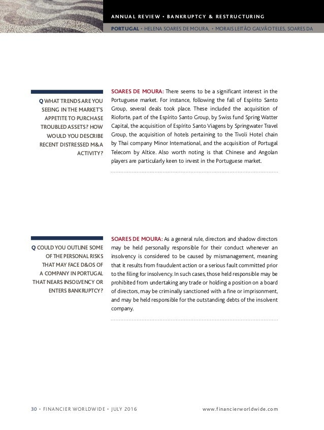 Financier Worldwide Bankruptcy Amp Restructuring Review 2016