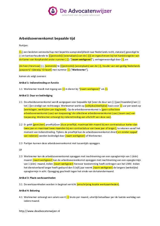 ontslagbrief proeftijd werknemer voorbeeld Standaard arbeidsovereenkomst bepaalde tijd  De Advocatenwijzer ontslagbrief proeftijd werknemer voorbeeld