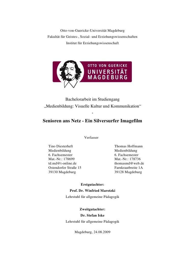 Otto-von-Guericke-Universität Magdeburg  Fakultät für Geistes-, Sozial- und Erziehungswissenschaften              Institut...