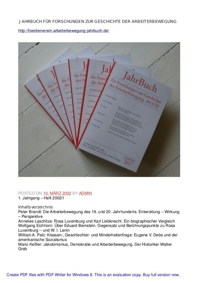JAHRBUCH FÜR FORSCHUNGEN ZUR GESCHICHTE DER ARBEITERBEWEGUNG http://foerderverein.arbeiterbewegung-jahrbuch.de/ POSTED ON ...