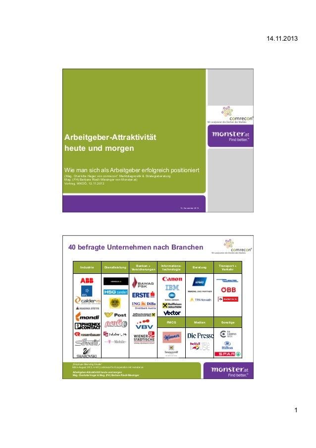 14.11.2013 1 Arbeitgeber-Attraktivität heute und morgen Wie man sich als Arbeitgeber erfolgreich positioniert (Mag. Charlo...