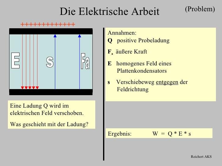 (Problem)                   Die Elektrische Arbeit    +++++++++++++                                Annahmen:              ...