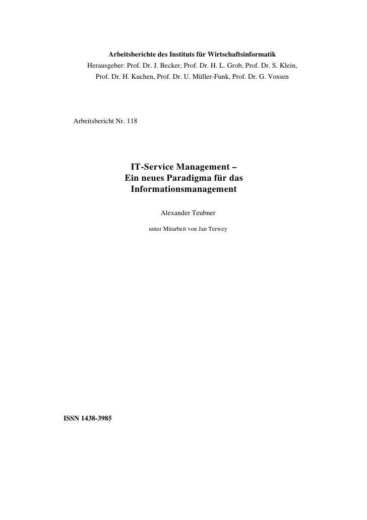 Arbeitsberichte des Instituts für Wirtschaftsinformatik       Herausgeber: Prof. Dr. J. Becker, Prof. Dr. H. L. Grob, Prof...