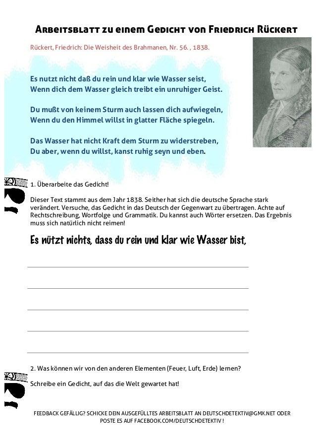 Arbeitsblatt zu einem Gedicht von Friedrich Rückert