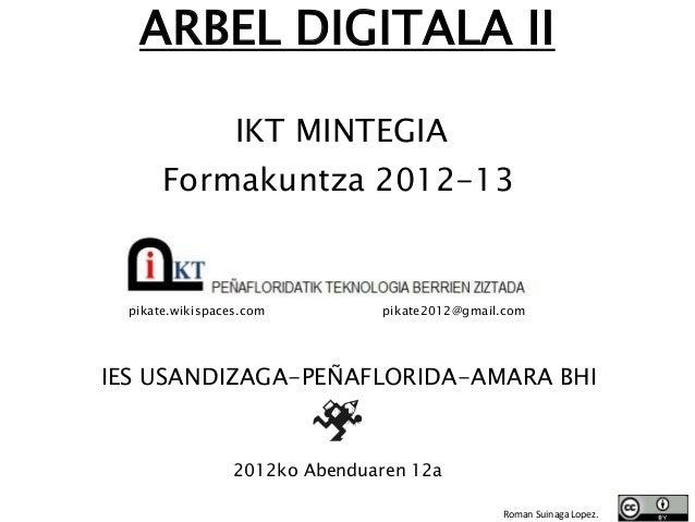 ARBEL DIGITALA II                  IKT MINTEGIA       Formakuntza 2012-13  pikate.wikispaces.com         pikate2012@gmail....