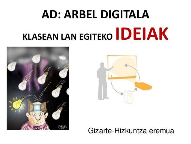 AD: ARBEL DIGITALA KLASEAN LAN EGITEKO IDEIAK Gizarte-Hizkuntza eremua