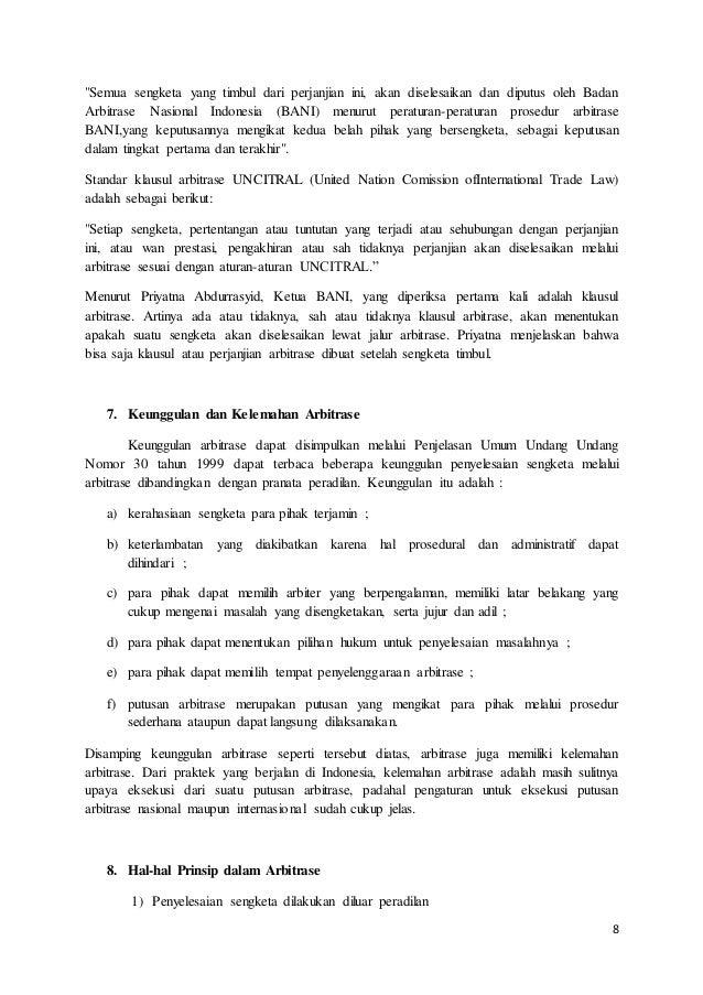 makalah arbitrase perdagangan di indonesia