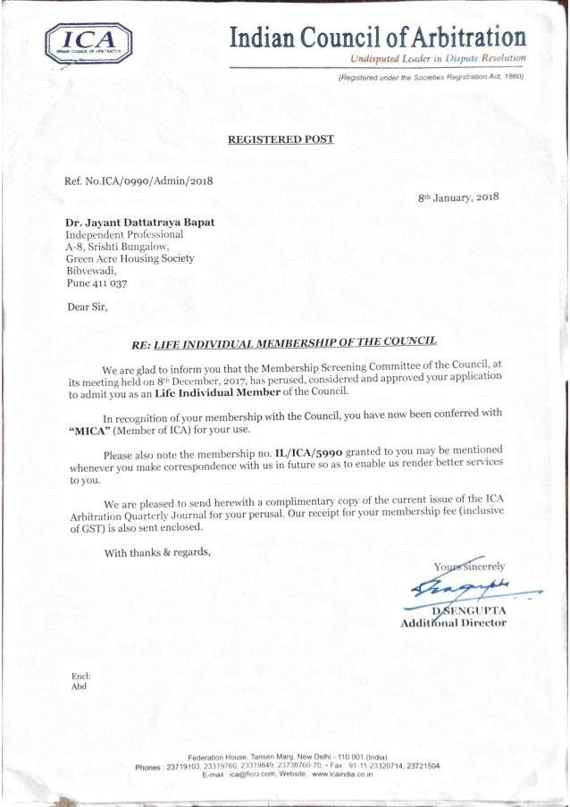 Dr J D Bapat: Indian Council of Arbitration: Life Membership