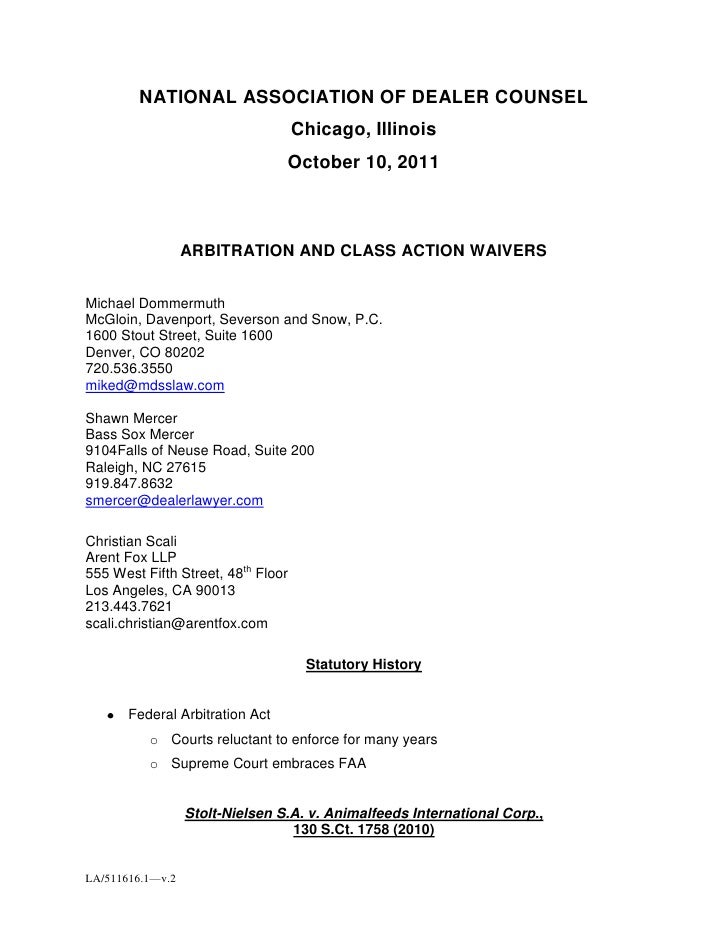 NATIONAL ASSOCIATION OF DEALER COUNSEL<br />Chicago, Illinois<br />October 10, 2011<br />ARBITRATION AND CLASS ACTION WAIV...