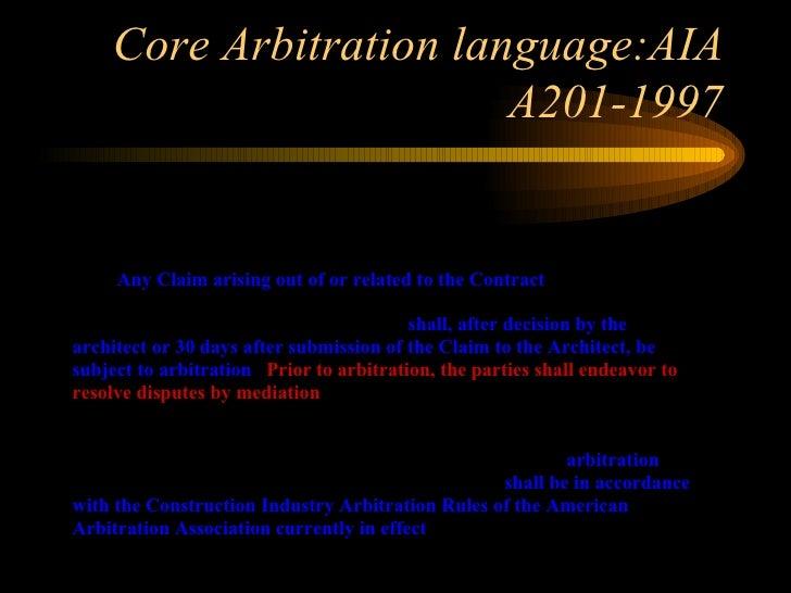 Arbitration Of Construction Disputes