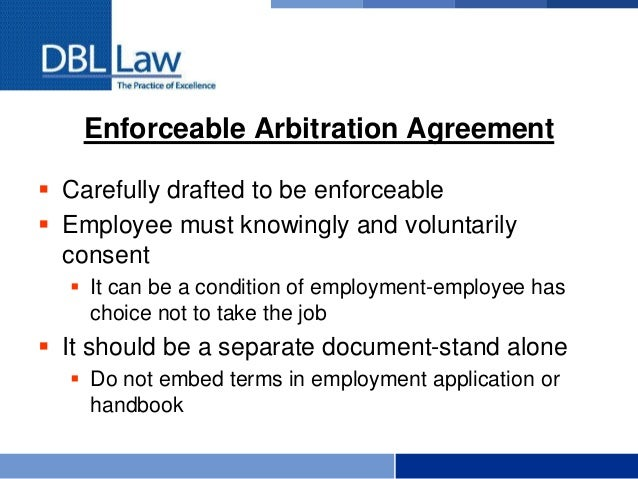 Arbitration Of Employment Claims The Basics