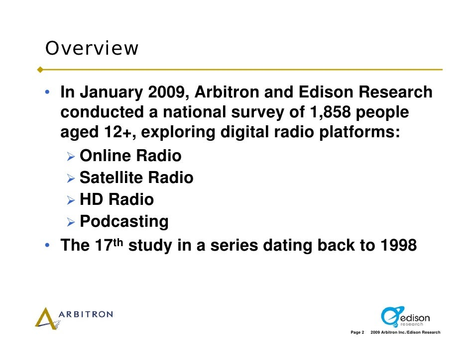 Overview  • In January 2009, Arbitron and Edison Research   conducted a national survey of 1,858 people   aged 12+, explor...