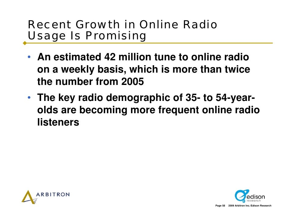 Recent Growth in Online Radio Usage Is Promising • An estimated 42 million tune to online radio   on a weekly basis, which...