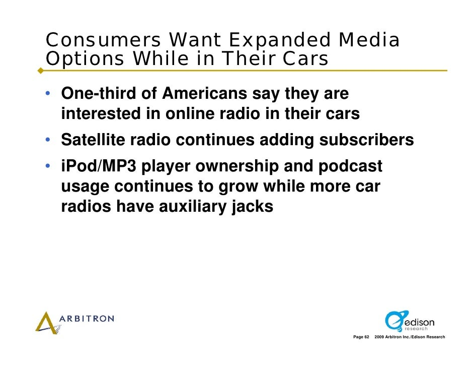 Consumers Want Expanded Media Options While in Their Cars • One-third of Americans say they are   interested in online rad...