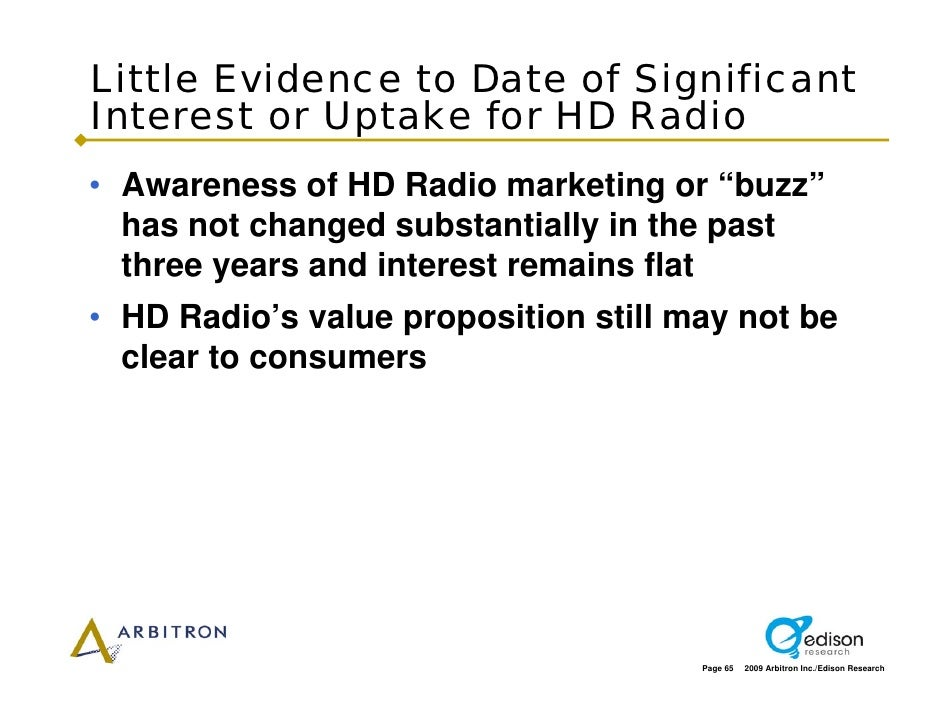 """Little Evidence to Date of Significant Interest or Uptake for HD Radio • Awareness of HD Radio marketing or """"buzz""""   has n..."""