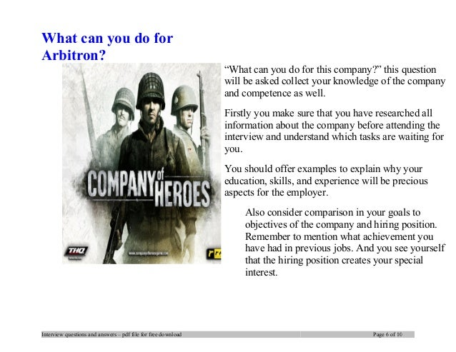 what can you bring to our company