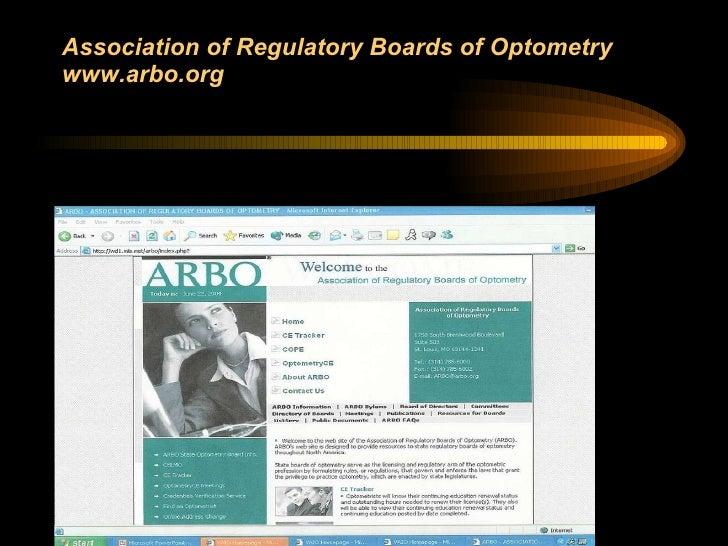 Association of Regulatory Boards of Optometry  www.arbo.org
