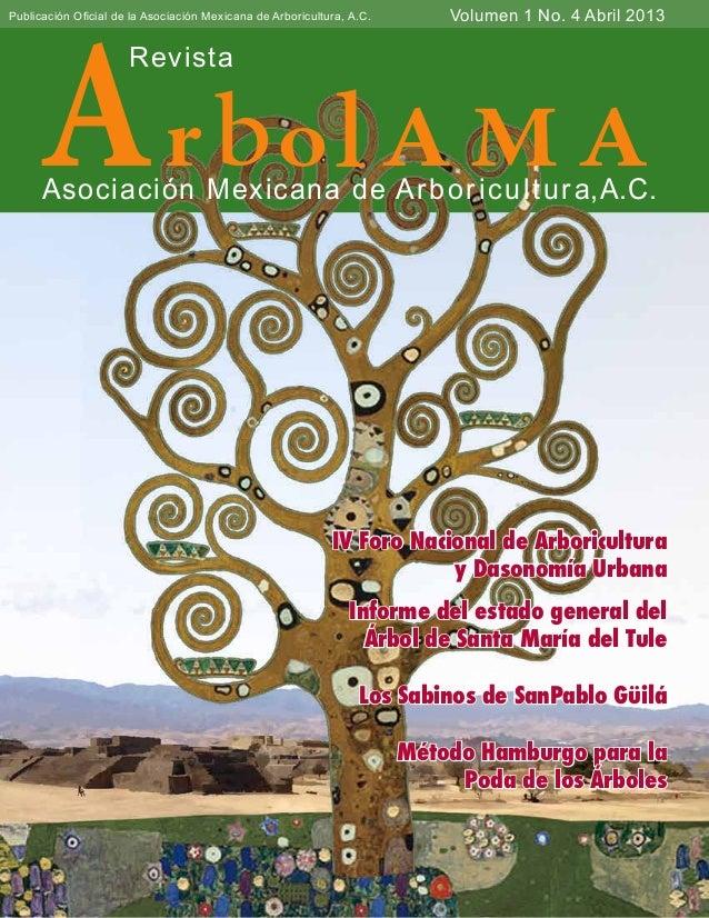 no.4 abril 2013ArbolAMA1Ar bolA M ARevistaAsociación Mexicana de Arboricultura,A.C.Volumen 1 No. 4 Abril 2013Publicación O...