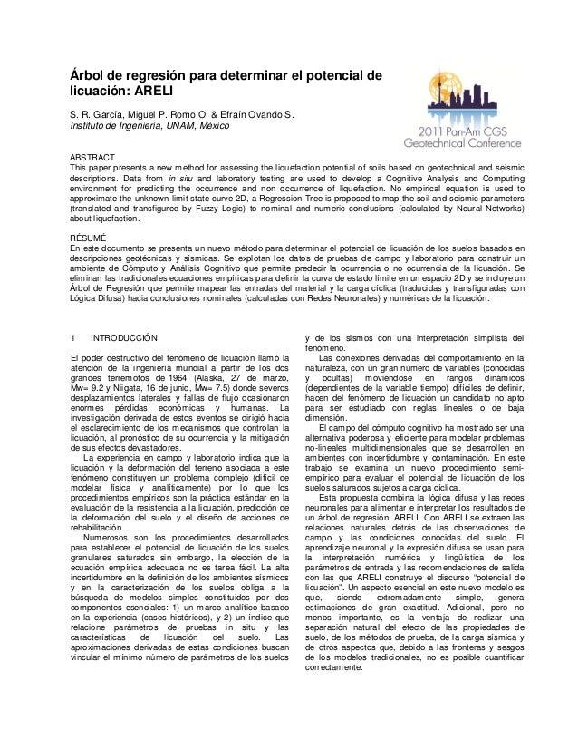 Árbol de regresión para determinar el potencial de licuación: ARELI S. R. García, Miguel P. Romo O. & Efraín Ovando S. Ins...