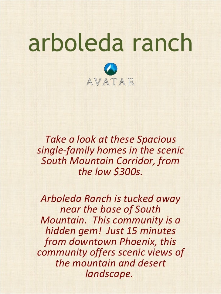 arboleda ranch Take a look at these Spacious single-family homes in the scenic South Mountain Corridor, from the low $300s...