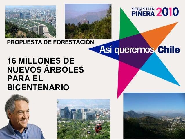 PROPUESTA DE FORESTACIÓN16 MILLONES DENUEVOS ÁRBOLESPARA ELBICENTENARIO