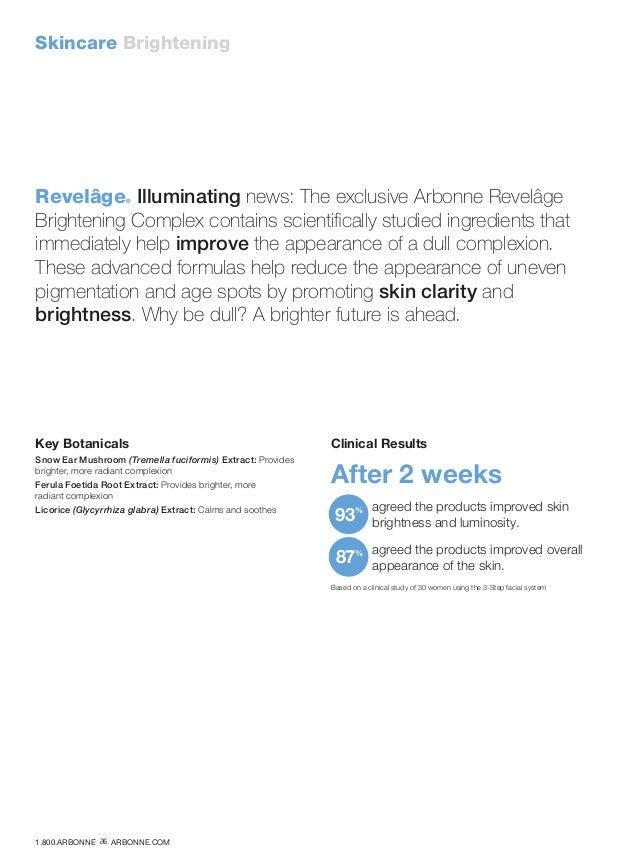 Skincare Brightening Revelâge® Illuminating news: The exclusive Arbonne Revelâge Brightening Complex contains scientifical...