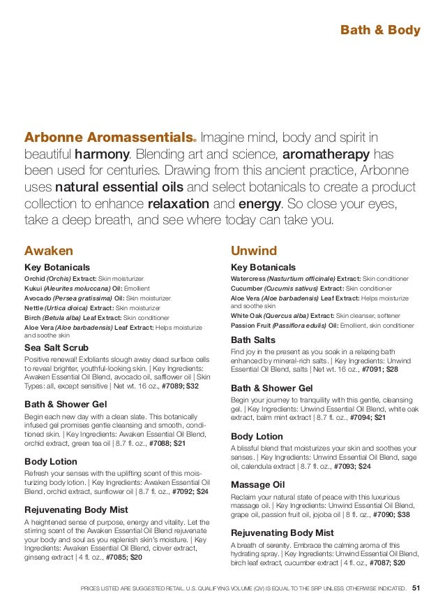 Bath  Body Arbonne Aromassentials® Imagine mind, body and spirit in beautiful harmony. Blending art and science, aromather...