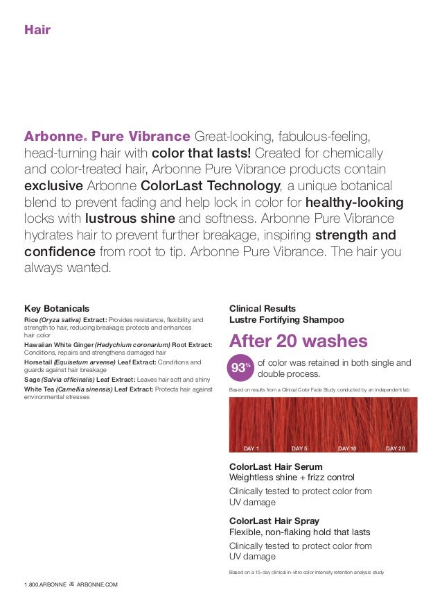 Hair Arbonne® Pure Vibrance Great-looking, fabulous-feeling, head-turning hair with color that lasts! Created for chemical...