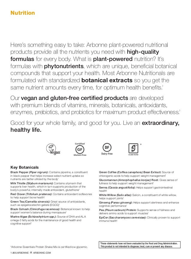 Nutrition Here's something easy to take: Arbonne plant-powered nutritional products provide all the nutrients you need wit...