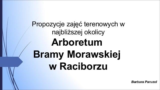 Propozycje zajęć terenowych w najbliższej okolicy Arboretum Bramy Morawskiej w Raciborzu Barbara ParuzelBarbara Paruzel
