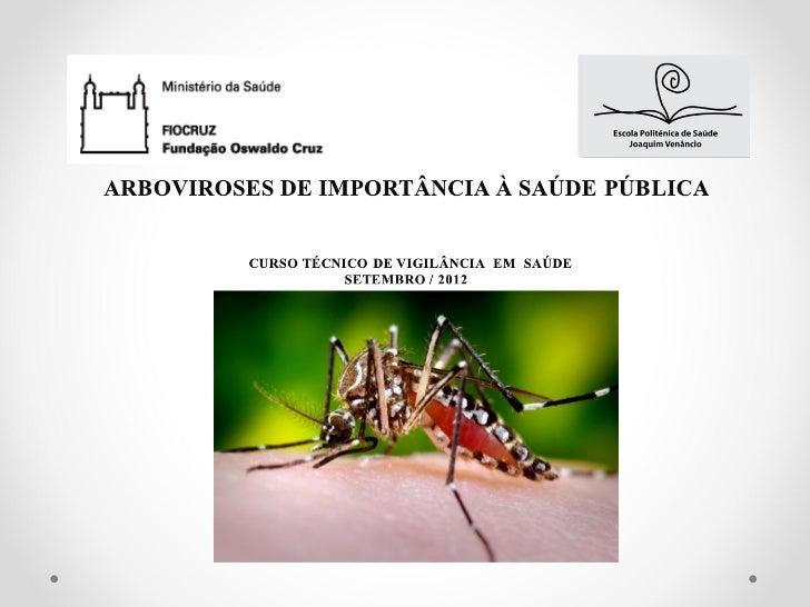 """∗ARBOVIROSES:         -Termo derivado das palavras inglesas""""arthropod"""",""""borne"""",""""viruses"""".         -Viroses/vírus transmiti..."""