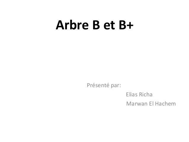 Arbre B et B+  Présenté par: Elias Richa Marwan El Hachem