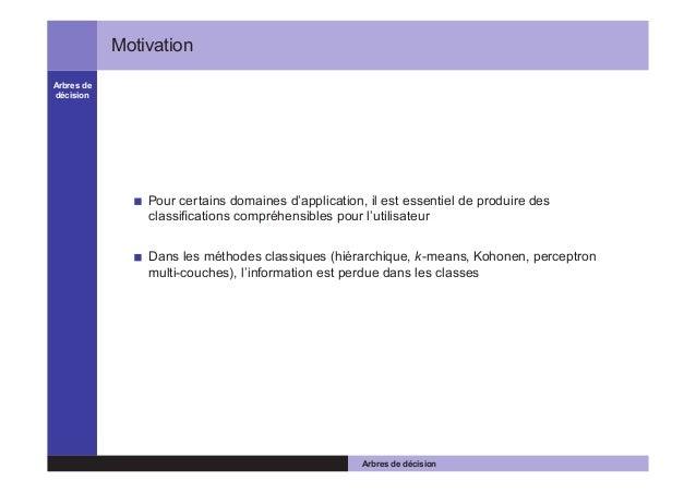 Arbres de décision Motivation Pour certains domaines d'application, il est essentiel de produire des classifications compré...