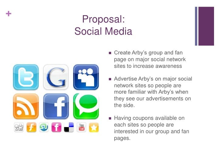 +     Proposal:    Social Media              Create Arby's group and fan               page on major social network      ...