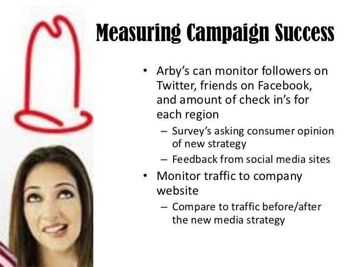 Measuring Campaign Success<br />Arby's can monitor followers on Twitter, friends on Facebook, and amount of check in's for...