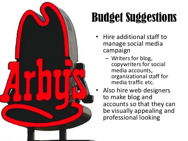 Budget Suggestions <br />Hire additional staff to manage social media campaign<br />Writers for blog, copywriters for soci...