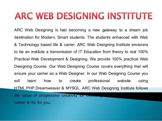 ARC WEB DESIGNING INSTITUTE | ISO Certified Web Designing Course Slide 3