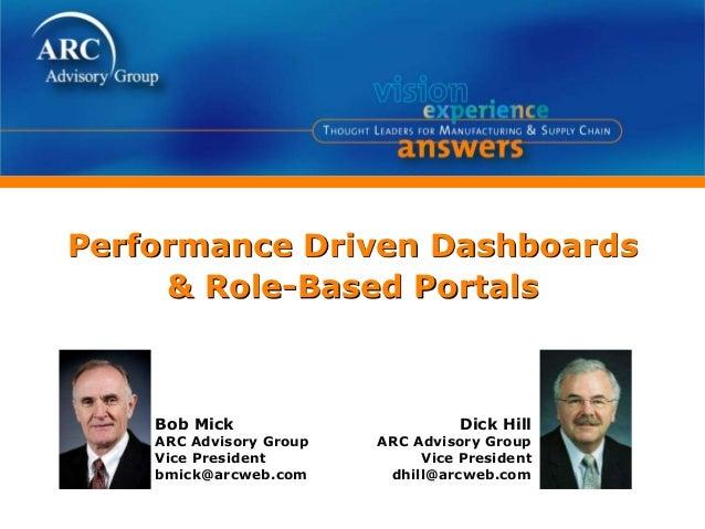 Performance Driven Dashboards & Role-Based Portals Dick Hill ARC Advisory Group Vice President dhill@arcweb.com Bob Mick A...