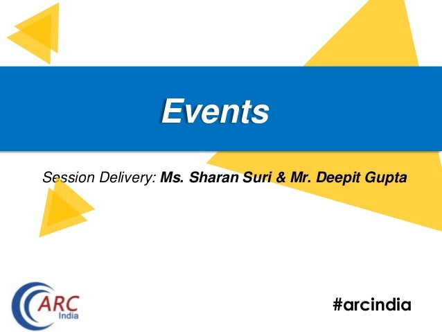 #arcindia Events Session Delivery: Ms. Sharan Suri & Mr. Deepit Gupta