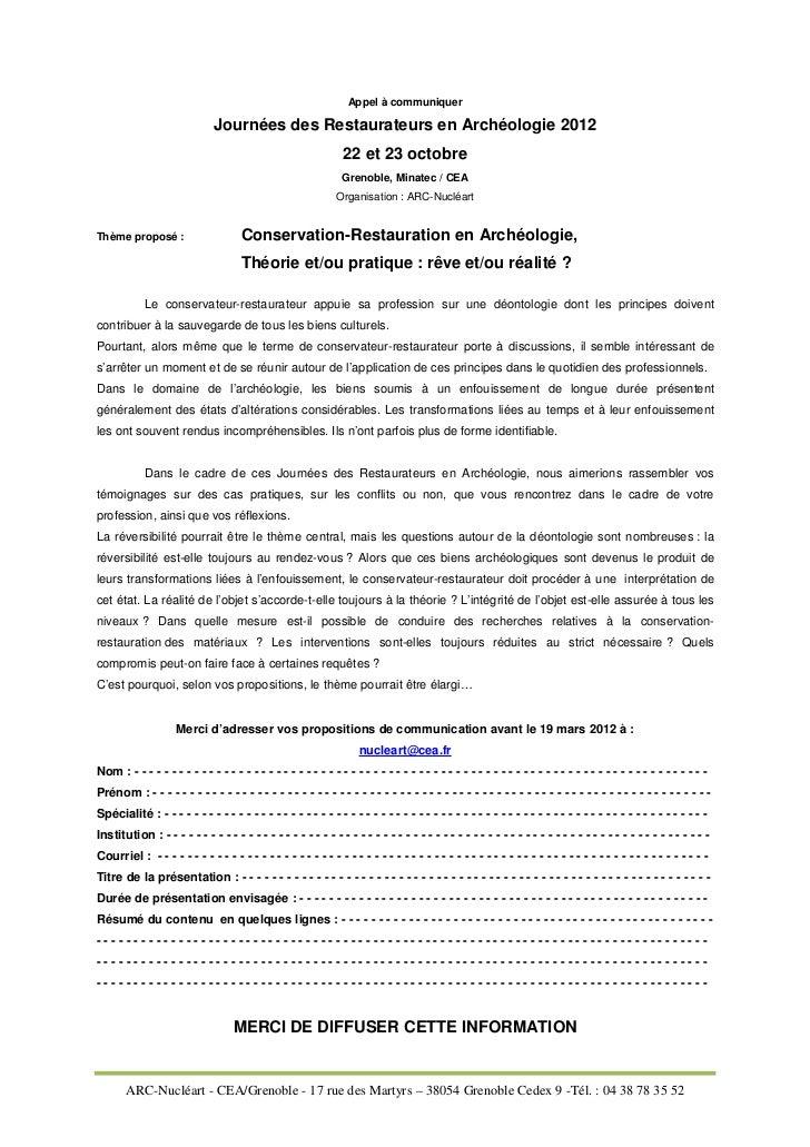 Appel à communiquer                              Journées des Restaurateurs en Archéologie 2012                           ...
