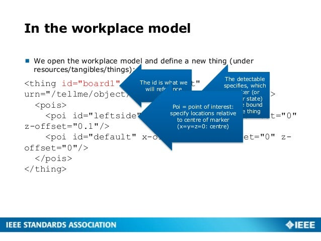 In the workplace model  We open the workplace model and define a new thing (under resources/tangibles/things): <thing id=...