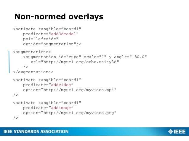 "Non-normed overlays <activate tangible=""board1"" predicate=""add3dmodel"" poi=""leftside"" option=""augmentation""/> <augmentatio..."