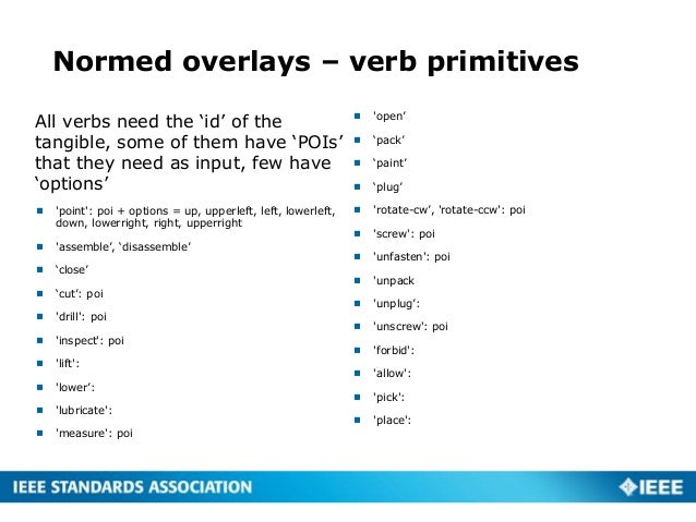 Normed overlays – verb primitives All verbs need the 'id' of the tangible, some of them have 'POIs' that they need as inpu...