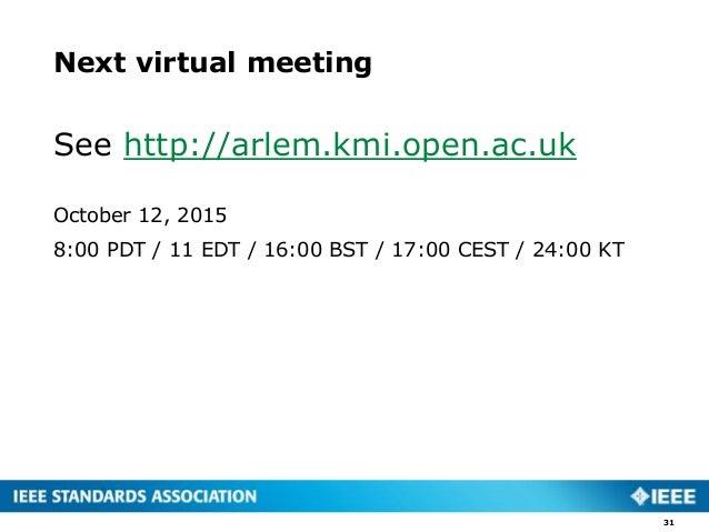 Next virtual meeting See http://arlem.kmi.open.ac.uk October 12, 2015 8:00 PDT / 11 EDT / 16:00 BST / 17:00 CEST / 24:00 K...
