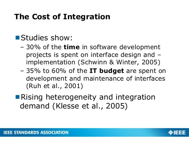 The Cost of Integration Studies show: – 30% of the time in software development projects is spent on interface design and...