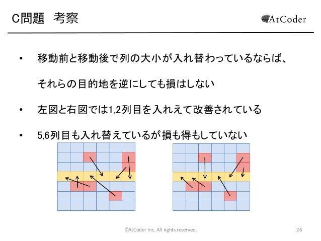 C問題 考察 •  移動前と移動後で列の大小が入れ替わっているならば、 それらの目的地を逆にしても損はしない  •  左図と右図では1,2列目を入れえて改善されている  •  5,6列目も入れ替えているが損も得もしていない  ©AtCoder ...
