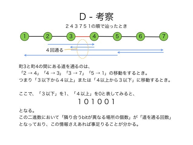町3と町4の間にある道を通るのは、 「2 → 4」「4 → 3」「3 → 7」「5 → 1」の移動をするとき。 つまり「3以下から4以上」または「4以上から3以下」に移動するとき。 ここで、「3以下」を1、「4以上」を0と表してみると、 1 0...
