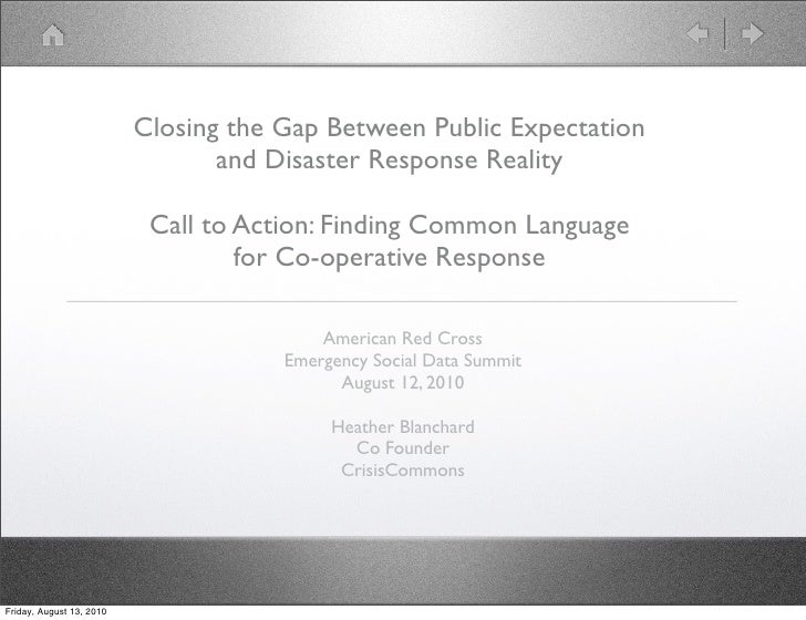 Closing the Gap Between Public Expectation                                  and Disaster Response Reality                 ...