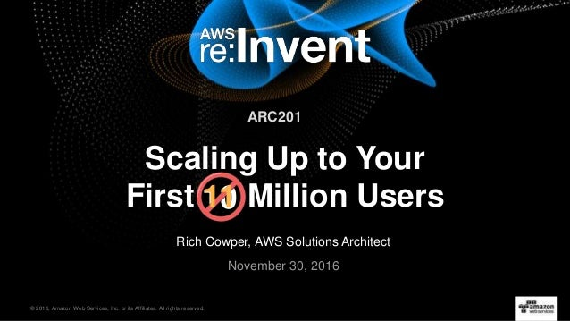 © 2016, Amazon Web Services, Inc. or its Affiliates. All rights reserved. Rich Cowper, AWS Solutions Architect November 30...